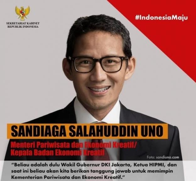 Sandiaga Uno (Menteri Pariwisata dan Ekonomi Kreatif). (Foto: Instagram)