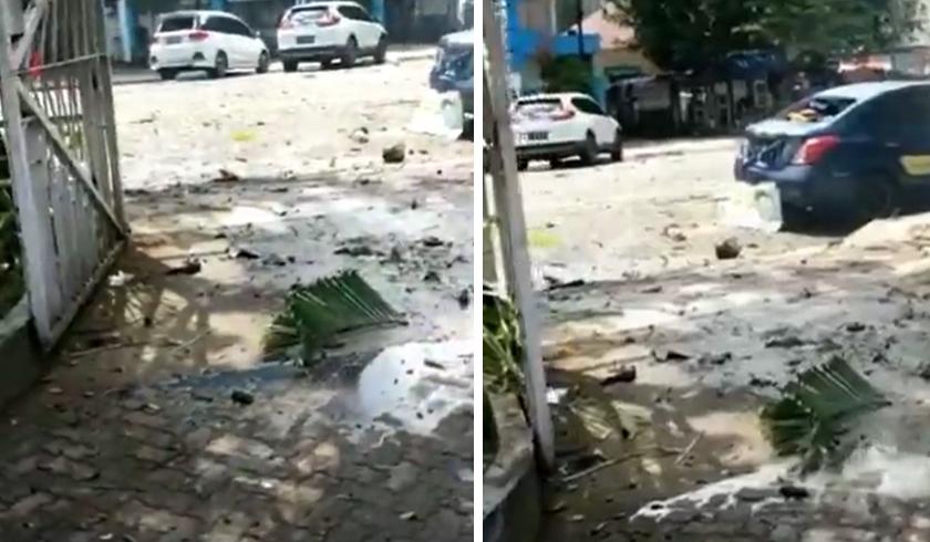 Ledakan di Gereja Katedral Makassar, Sulawesi Selatan. (Foto: PMJ News/Instagram).