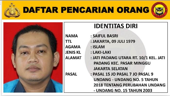 Terduga teroris yang jadi DPO. (Foto ; PMJ/Ist).