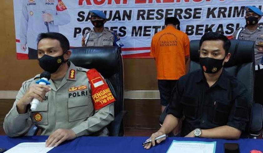 Polres Metro Bekasi Kota menggelar perkara kasus pemerkosaan anak di bawah umur. (Foto:PMJ News).