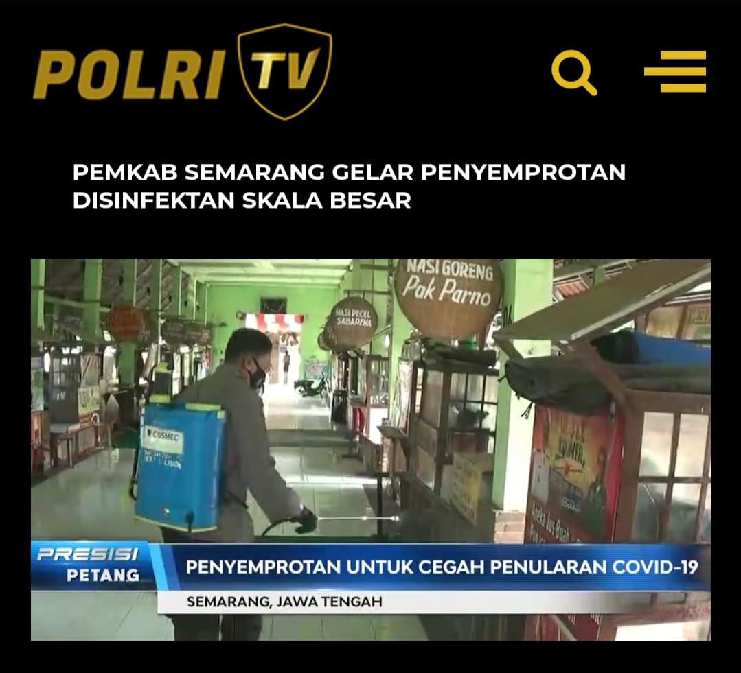Penyemprotan disinfektan di zona merah tempat umum di Semarang. (Foto: tangkapan layar  Presisi Petang TV Radio Polri).