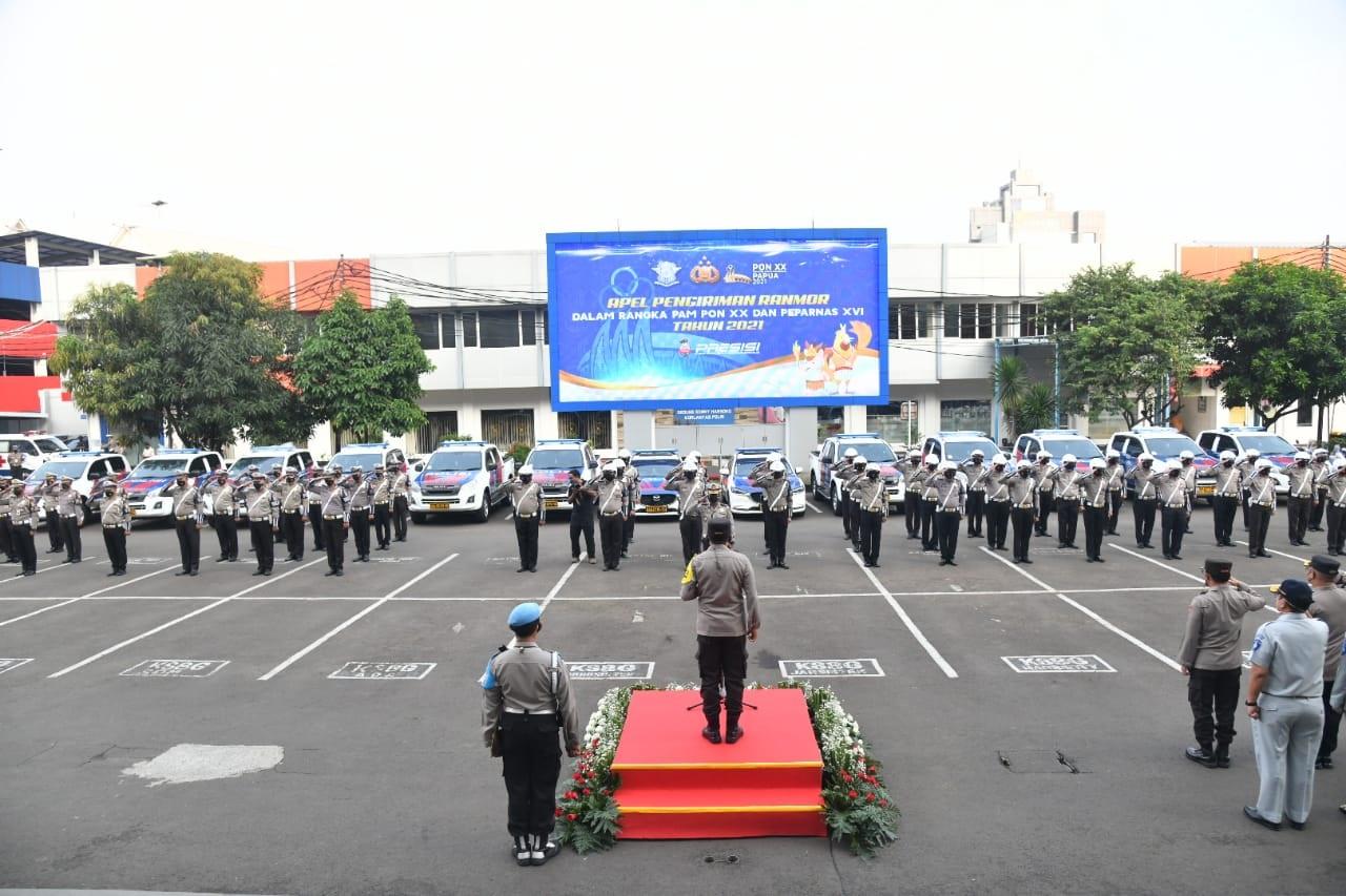 Korlantas Polri memberangkatkan 51 mobil operasional untuk pengamanan PON Papua. (Foto: PMJ News/Divisi Humas Polri).